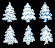 Set of chistmas pines Royalty Free Stock Image