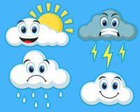 Set chmury emoticons na błękitnym tle ilustracji