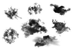 Set chmury odizolowywa? na bia?ym tle, Textured dym, mu?ni?cie chmurniej?, abstrakta czer? ilustracja wektor