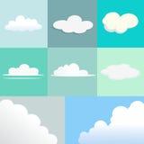 Set chmury z Różnym kształtem i teksturą Obrazy Royalty Free