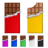 Set of chocolate bars in colorful wrappers Royalty Free Stock Photography