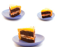 Set  chocolate cake on a blue plate Stock Image