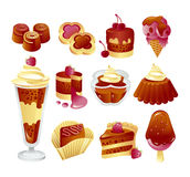 Set of chocolate cakes. Desserts and sweet food icons stock illustration