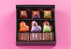 Set of chocolate candies in a box Royalty Free Stock Photos