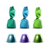 Set of Chocolate Candies in Colored Purple Green Blue Foil Royalty Free Stock Images