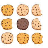Set of chocolate chip cookies. vector. Set of chocolate chip cookies isolated on white background. homemade bitten biscuit choc cookie. vector stock illustration