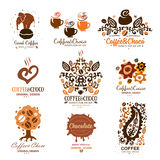 Set of chocolate, coffee logo. Cocoa icon, logo. Royalty Free Stock Images