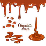 Set of chocolate drops and blots on white background. Set of chocolate drops and blots, cartoon style vector illustration on white background. Chocolate dropping vector illustration