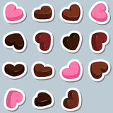 Set of chocolate hearts Royalty Free Stock Photography