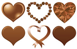 Set of chocolate hearts. Royalty Free Stock Photography