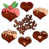 Set of Chocolate hearts in white and dark chocolate Royalty Free Stock Images