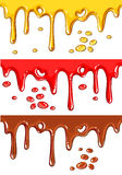 Set of chocolate, honey, and strawberry drips Royalty Free Stock Photography