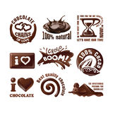 Set chocolate logos and labels. Royalty Free Stock Photography