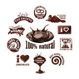 Set chocolate logos and labels. Stock Image
