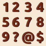 Set of Chocolate numbers and signs Stock Images