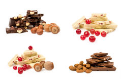 Set of chocolate with nuts and berries Stock Photography