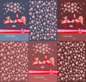 Set of chocolate packaging with bow, cock and hen, and a blossoming tree. Royalty Free Stock Image