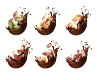 Set of chocolate splashes with different crushed nuts closeup, isolated on a white background.  royalty free stock photos