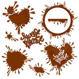 Set of Chocolate splashes, hearts, circle, drops, handwritten wo. Rds Sweet Heart, on white, abstract background vector illustration