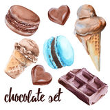 Set of chocolate sweets. Cake, candy, ice cream and macaroon. Isolated on white background. Watercolor illustration Stock Photography