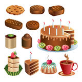 Set of chocolate sweets and cakes. Different species of sweets and cakes made using simple gradients Stock Images