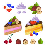 Set of chocolate sweets, cakes and other chocolate food vector illustration Stock Images