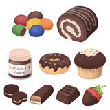 A set of chocolate sweets. Chocolate products for people. Chocolate desserts icon in set collection on cartoon style. Vector symbol stock web illustration Royalty Free Stock Images