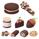 A set of chocolate sweets. Chocolate products for people. Chocolate desserts icon in set collection on cartoon style. Vector symbol stock web illustration Stock Images