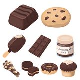A set of chocolate sweets. Chocolate products for people. Chocolate desserts icon in set collection on cartoon style. Vector symbol stock web illustration Stock Photos