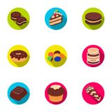 A set of chocolate sweets. Chocolate products for people. Chocolate desserts icon in set collection on flat style vector Royalty Free Stock Image