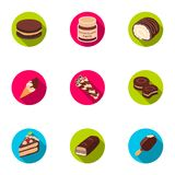A set of chocolate sweets. Chocolate products for people. Chocolate desserts icon in set collection on flat style vector Stock Photo