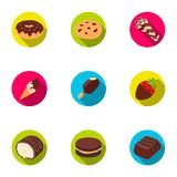 A set of chocolate sweets. Chocolate products for people. Chocolate desserts icon in set collection on flat style vector Stock Photography