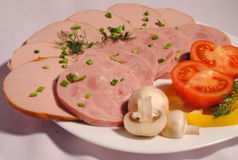 Set of chopped ham Stock Photos