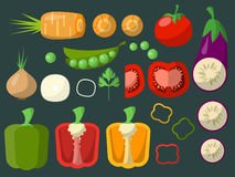 Set of chopped vegetables on a green background for your design. Vector Royalty Free Stock Images