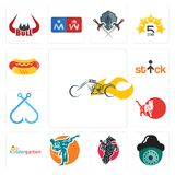 Set of chopper, security camera, equestrian, martial arts, kindergarten, cat, fishing hook, stick figure, hot dog icons. Set Of 13 simple  icons such as chopper Stock Images