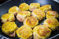 Set chops minced meat during frying Stock Images