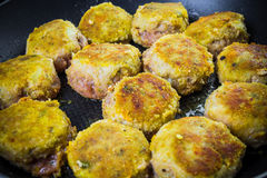Set chops minced meat during frying Royalty Free Stock Images