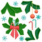 Set of chriatmas stripe and fir branch. Design elements for christmas. stock illustration