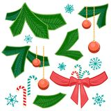 Set of chriatmas stripe and fir branch. Design elements for christmas. royalty free illustration