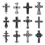 Set of christian and catholicism crosses. Religion crosses . Symbol of christian and catholic faith in God or jesus. Catholicism and christianity religious signs vector illustration