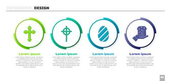 Set Christian cross, Christian cross, Easter egg and Human hand and easter cake. Business infographic template. Vector