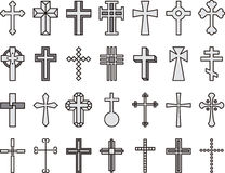 Set of Christian crosses. Illustration of Christian crosses in twenty eight different designs, white background Stock Image