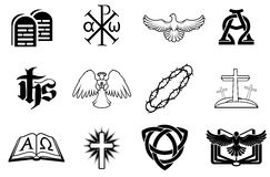 Set of Christian icons. A set of Christian icons including angel, dove, alpha omega, Chi Ro and many more Royalty Free Stock Images
