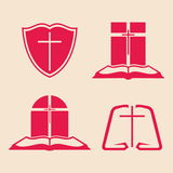 Set of christian logo Royalty Free Stock Images