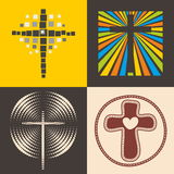 Set of christian logo. Cross of the Lord Jesus Christ Stock Photo