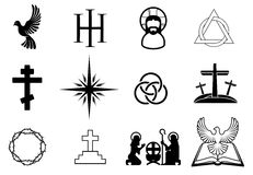 Christian icons. A set of Christian religious signs and symbols Royalty Free Stock Photo