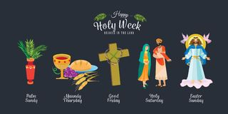 Set for Christianity holy week before easter, Lent and Palm or Passion Sunday, Good Friday crucifixion of Jesus and his. Death, Stations of Cross, God Passion stock illustration