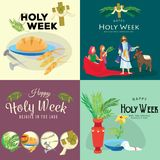 Set for Christianity holy week before easter, Lent and Palm or Passion Sunday, Good Friday crucifixion of Jesus and his. Death, Stations of Cross, God Passion royalty free illustration
