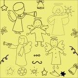 Set of Christmas angels and stars Stock Image