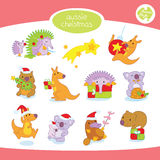 A set of Christmas Australian Animals Royalty Free Stock Images